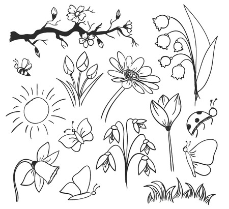 drawing of spring flowers and butterfly Illustration