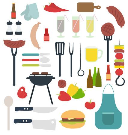 ustensiles de cuisine: Barbecue substance de partie illustration isolé