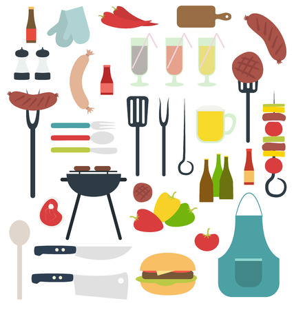 BBQ grill party stuff illustration isolated Vector