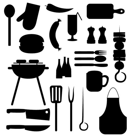 Barbecue equipment icons Vector