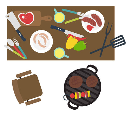 Grill barbecue table with food Illustration