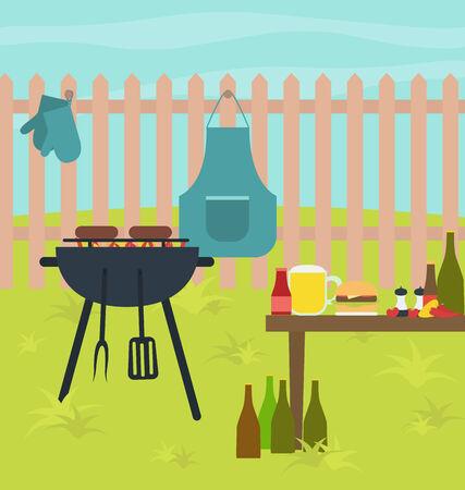 Vector grill outdoor scene