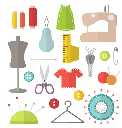 Flat modern sewing vector isolated equipment illustration