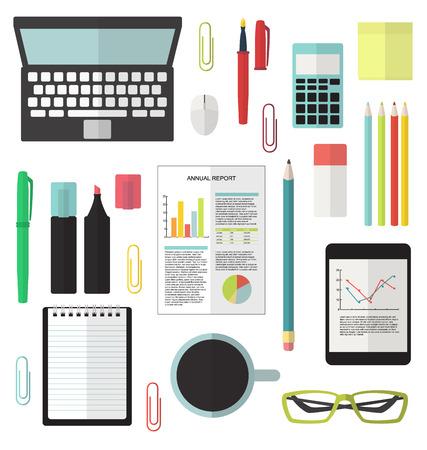 Office stationery flat modern vector set