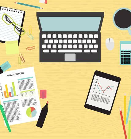 Business office table upper view vector flat