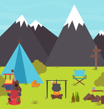 campsite: Camping in the mountains holiday travelling vector illustration scene