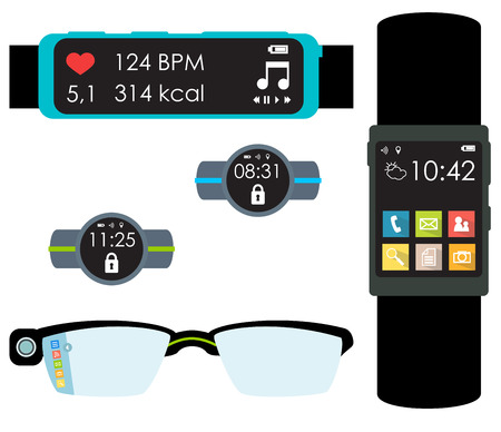 wearable: Wearables isolated colorful illustration