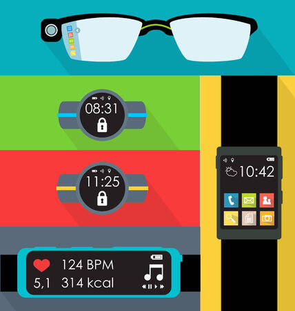 Wearable technology flat style set vector illustration Illustration