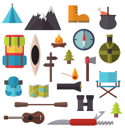 campground: Camping and hiking equipment for trip isolated flat style vector illustration