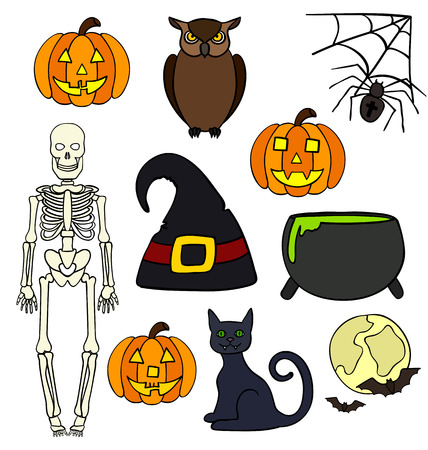 Colorful halloween drawings Vector