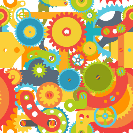 Colorful gears seamless pattern