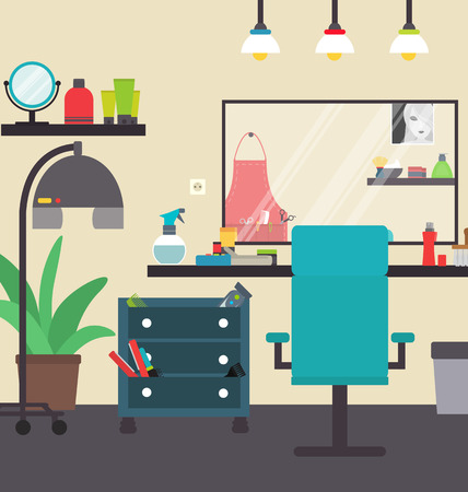 Hairdresser salon interior illustration