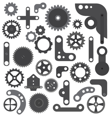 Parts of machine or robot isolated Vector