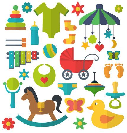 Set of baby flat toys Illustration