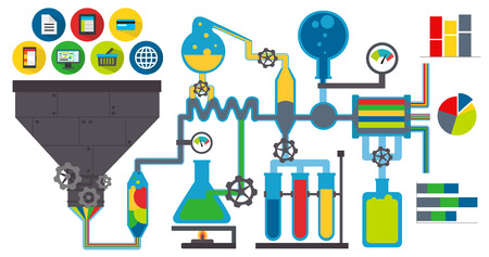 experiments: Data laboratory colorful Illustration