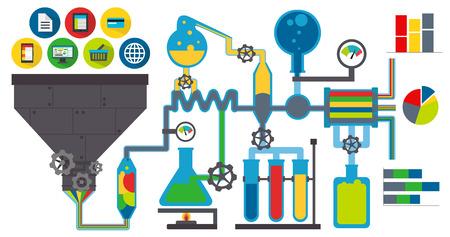 laboratory equipment: Data laboratory colorful Illustration