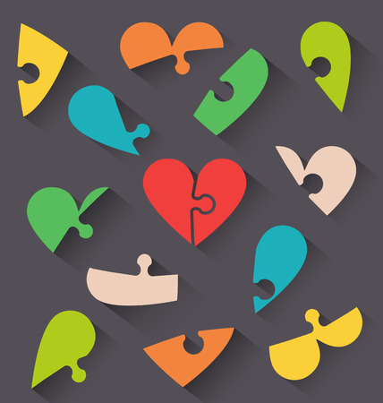 Heart jigsaw puzzle valentine card