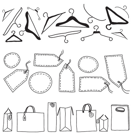 Shopping bags, labels and hangers drawing isolated
