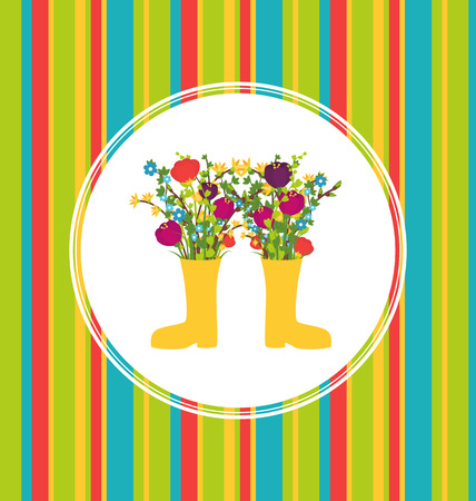 Flowers in boots card colorful