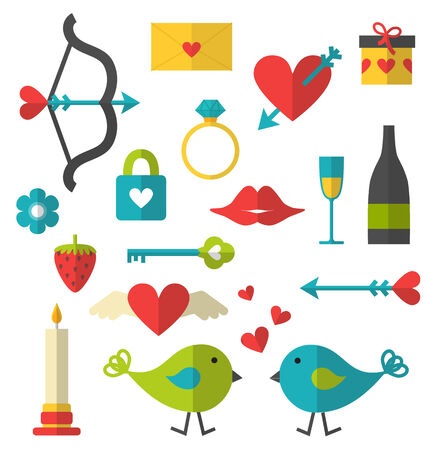 Valentine things flat set vector isolated