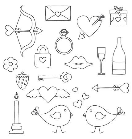 Valentine things drawing Illustration