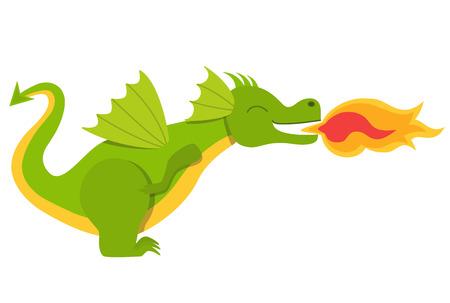 Dragón con un fuego Ilustración de vector