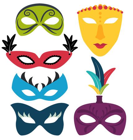Colorful carnival masks set isolated Illustration