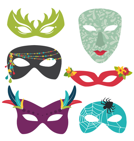 Carnival masks set isolated 일러스트
