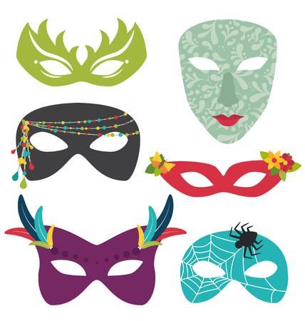 Carnival masks set isolated Çizim