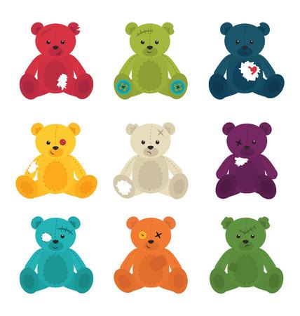 Destroyed teddy bears isolated Vector