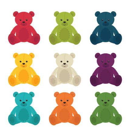 Colorful cute bears Illustration