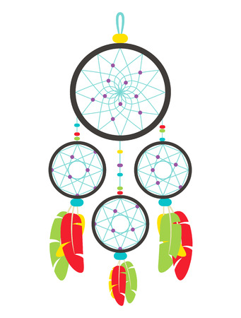Colorful dreamcatcher isolated