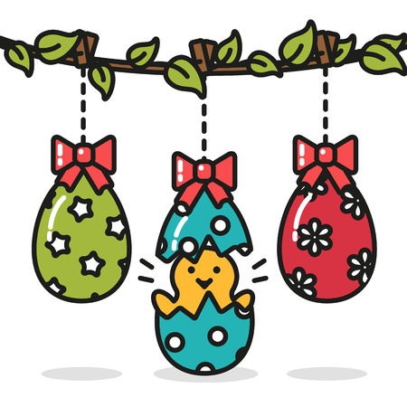 Easter eggs hanging and chicken funny surprise Illustration
