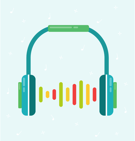 Headphones flat colorful vector with sound wave Illustration