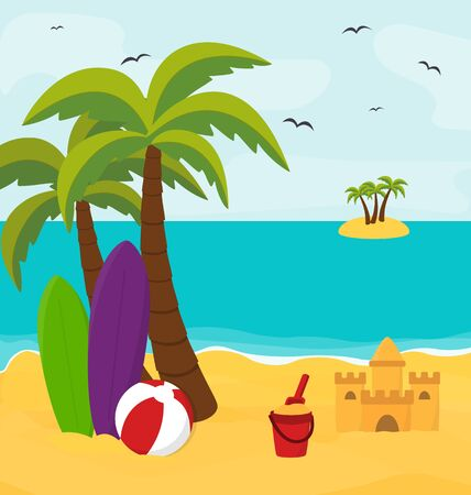 sunny beach: Summer beach with island in the sea, sunny holiday concept