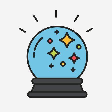 magic ball: Magic fortune telling crystal ball line vector illustration