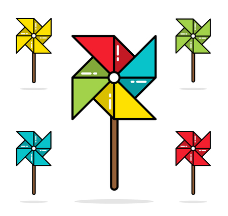 wind mill toy: Set of colorful toy pinwheels line flat vector design Illustration