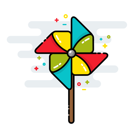 wind mill toy: Rotating pinwheel toy colorful line isolated vector style