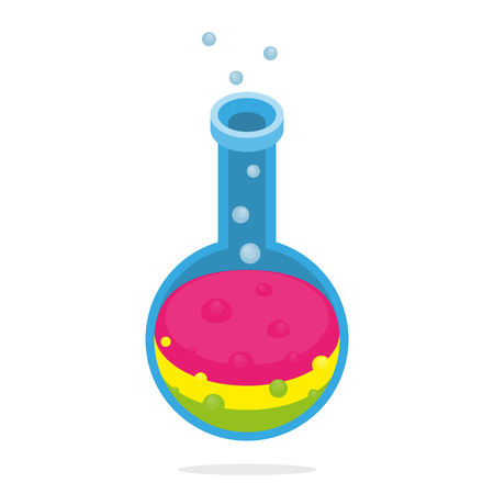 Scientific alchemy or laboratory tube isometric isolated colorful experiment concept.