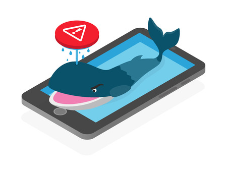 Blue whale, dangerous suicidal game on social media issue concept, isometric illustration.
