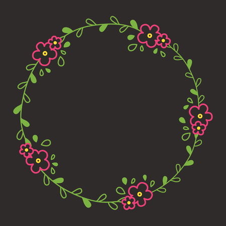Floral colorful line wreath or circle frame with pink blooms