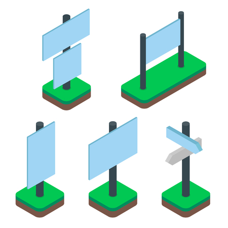 Set of isometric outdoor banner signs or billboards isolated