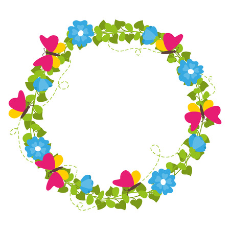 Spring wreath with flowers and butterflies isolated vector
