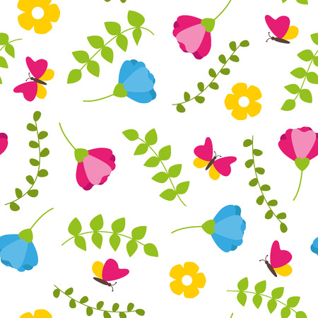 Floral colorful seamless pattern with leafs, blossoms and butterflies spring concept