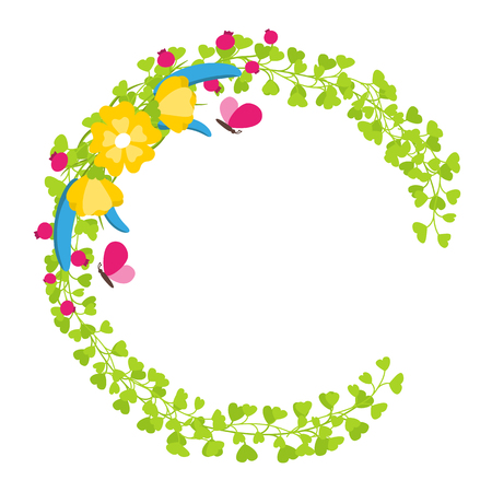 Floral wreath with yellow blossoms and berries spring concept