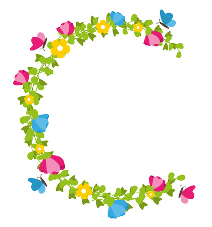 Floral wreath with butterflies spring concept vector Illustration