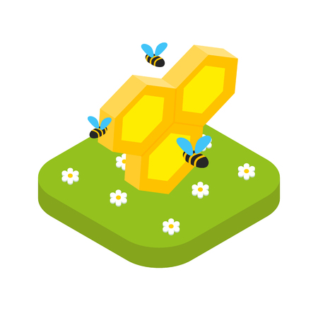 Isometric honeycomb with bees isolated, beekeeping concept vector