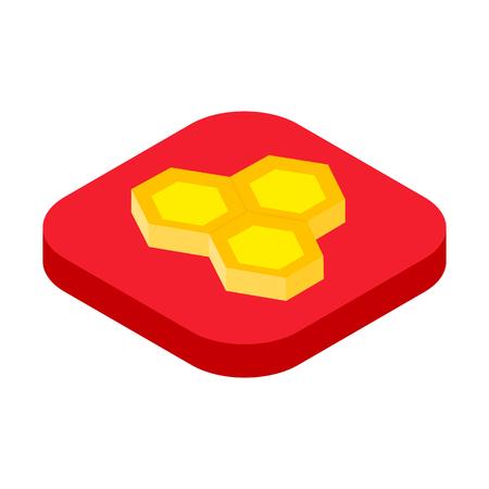 Isometric honeycomb icon, beekeeping concept vector