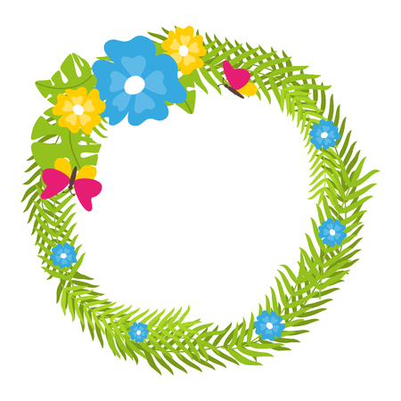 Tropical floral wreath with butterflies and blooms isolated vector