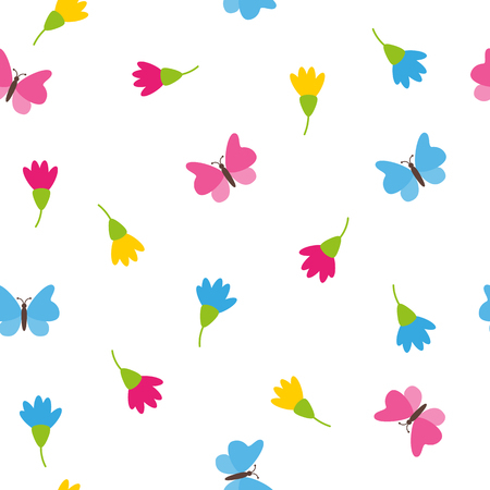 Floral spring colorful blossoms and butterflies on white background romantic concept seamless pattern